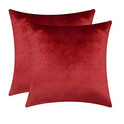Fitows Kissenbezug Samt 45 x 45 cm Sofakissen Set Dekorative Kissenhülle für Sofa Bett Schlafzimmer Weiche Solid Kord Zierkissenbezug Weinrot 2er-Pack - Für Set Schlafzimmer