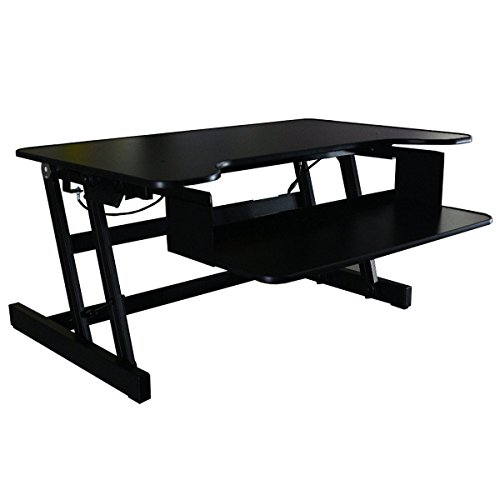 Office Fitness StandEasy DeskRiser LX with FREE BALANCE CUSHION| Height-adjustable Sit-Stand Workstation | Height Adjustable Standing Desk - Black (Assist Stand)