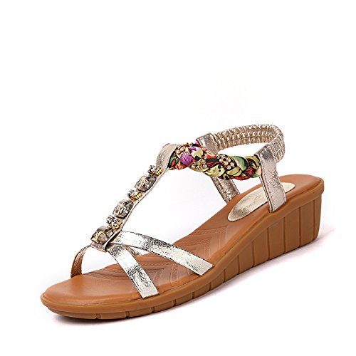 Chers talus sandales en cuir sandale été chaussons d'or 37 Gold