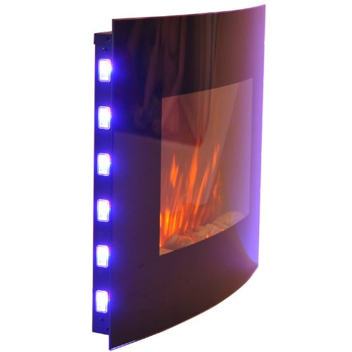 Wall Mounted Electric Lights : HOMCOM LARGE LED CURVED GLASS ELECTRIC WALL MOUNTED FIRE PLACE FIREPLACE 7 COLOUR SIDE LIGHTs ...