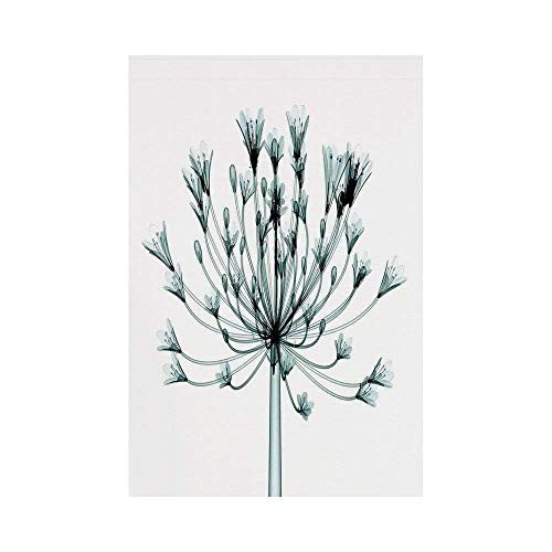 Liumiang Eco-Friendly Manual Custom Garden Flag Demonstration Flag Game Flag,Xray Flower,X ray Image of a Floral Tree an Unusual Look into The Complex Structures of Flowers,Teal Whitear d¨¦COR