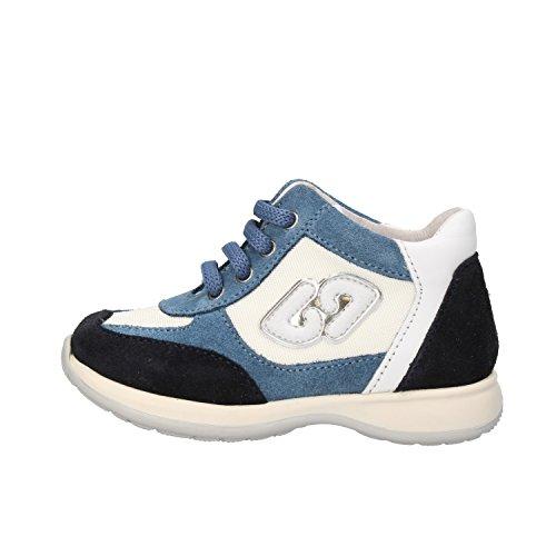 BALDUCCI sneakers bambino 20 EU bianco blu camoscio tessuto pelle AF155