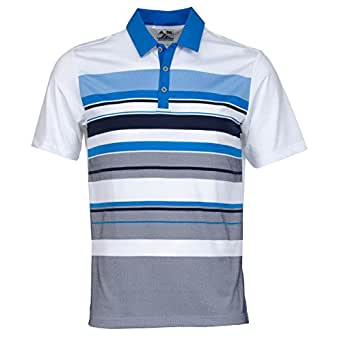 2015 Adidas Climacool Sport Performance Ventilated Stripe Mens Golf Polo Shirt White/Bright Blue Large