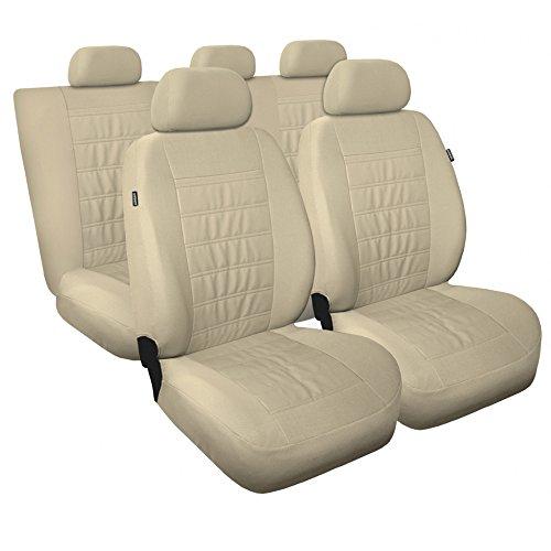 Saferide | Universal Beige Sitzbezüge Komplettset Sitzbezug für Auto Sitzschoner Set Schonbezüge Autositz Autositzbezüge Sitzauflagen Sitzschutz Modern