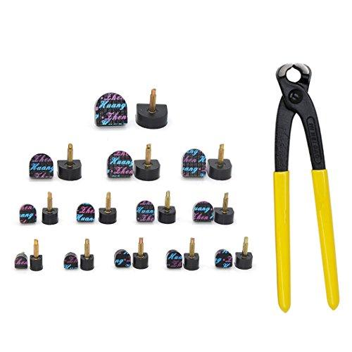 Medigy 13 Paar Tip Replacement Kit für Stiletto, High Heel Dübelzange, Paket beinhaltet 13 Paar U-förmige Tip Caps in verschiedenen Größen und eine Stiletto Zange-3.0mm Kern Schwarz