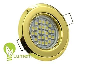 einbaustrahler set led und halogen einbauspot spot rund metall gold gu10 4 watt led lampe. Black Bedroom Furniture Sets. Home Design Ideas