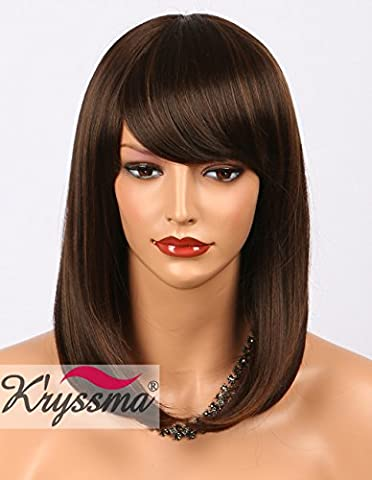 K'ryssma New Arrival Dark Brown Bob Wig with Light Brown Highlights Cheap Short Synthetic Wigs for Women with Bangs Heat Resistant/Friendly Fiber (F4/30)