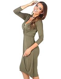 KRISP® Femmes Robe Portefeuille Mi-Longue Elégante Chic Casual