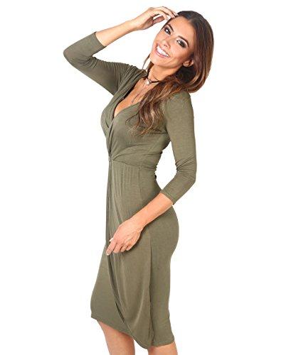 6174-KHA-10: Einfarbiges Kreuzender V-Ausschnitt Jersey Kleid (Khaki, Gr.38) heute Angebote