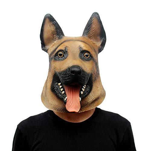 Miazhou Gruselig Latex Tier Hund Kopfmaske Schäferhund Halloween Party Kostüm Vorräte