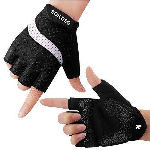 BOILDEG Fahrradhandschuhe Fingerlos Fitness Handschuhe Atmungsaktiv Rutschfestes Stoßdämpfende Radsporthandschuhe für MTB Fitness Damen und Herren(Schwarz-Weiß,M)