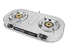 Hotsun Club 2 DELUX Glass Stainless Steel 2 Burner Gas Stove