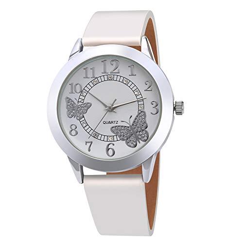 PLKNVT Leder Frauen Kleid Uhren Quarz Armbanduhren Mode Blume Schmetterling Damen Armband Weibliche Runde Uhr Quarzuhr
