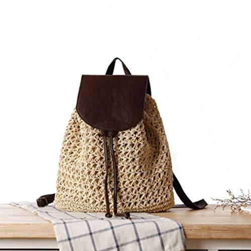 Holiday Damen Tasche (Frauen Rucksack - Leder Cover Rucksack, Straw Beach gewebte Tasche Holiday School Travel Daypack, Mode Vintage Boho häkeln Damen Rucksack)