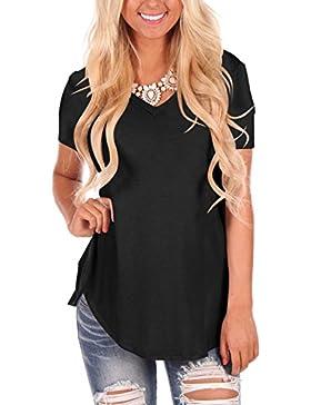 Dasbayla Magliette Donna Manica Corta Basic T-Shirt con Scollo A V Tee Irregolare