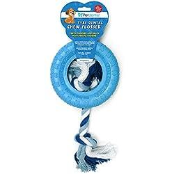 Haustier Zahnarzt Beißring Zahnpflege Kauen Zahnseide Hundespielzeug (BLUE)