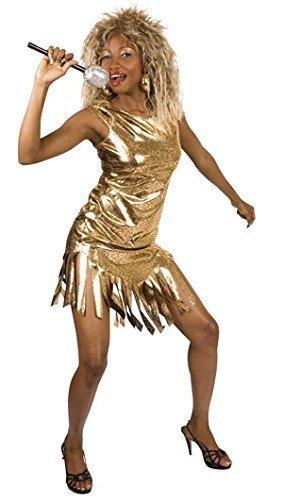 Famous Stars Damen Pop Star Gold 1980s Tina Turner Kostüm Outfit (Turner Kostüm)