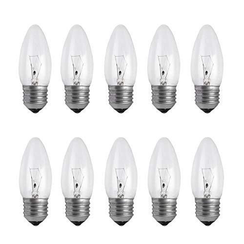 10er Pack leuchtmittel E27 Warmweiß Dimmbar ES - B4U 40w e27 Glühbirne, Vintage Klare Kerzenlampe, Edison lampe, 2700K Warmweiß, 410 Lumen, Netzspannung 240V, von Brightfour -