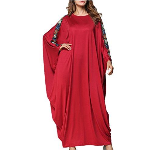 che Roben für Frauen, Langarm-Lose Abaya Maxi Kleid, Konservativen Stil Jalabiya,Rot,OneSize (Typ Kostüm Kaftan)