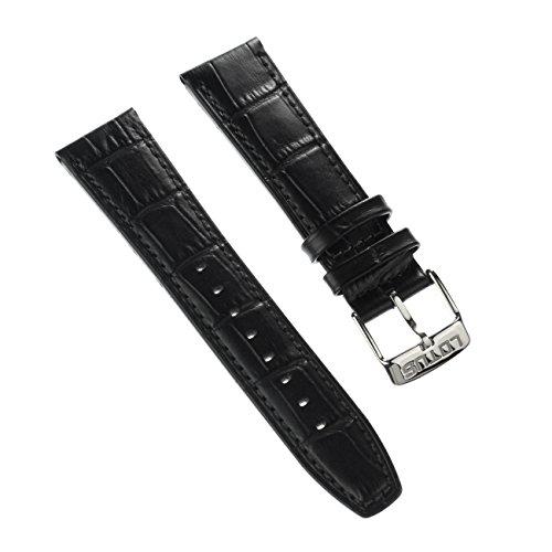 Pulsera Fashion-Material de la correa Lotus de cuero negro para Lotus L18223, L18222 relojes