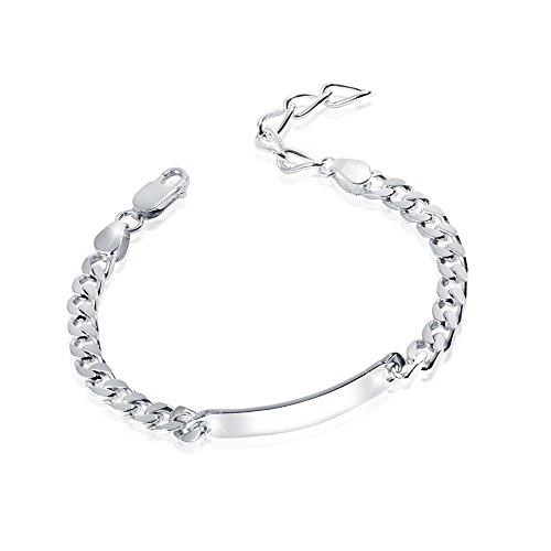 MATERIA Herren Armband Silber 925 Schildarmband 6mm Männer diamantiert 19-23cm längen verstellbar SA-13-Ohne Gravur