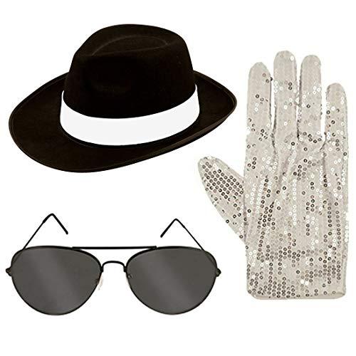King of Pop Brille Handschuhe für Herren und Damen, für Erwachsene, Kostüm-Zubehör, Einheitsgröße Gr. Einheitsgröße Passend für die meisten, Black Hat Glasses Gloves (Michael Jackson Themen Party Kostüme)