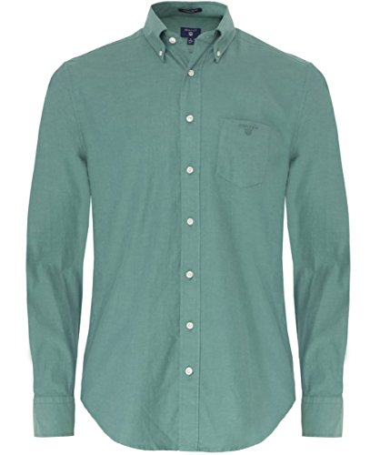 Gant Uomo Camicia Oxford pianura M Green
