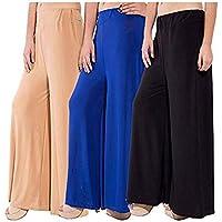 Shmayra by Myra-Syra International Women's Soft & Stretchable Malai Lycra Free Size Plazzo Pants for Women Palazzo Pants for Womens Plazoo Plazo Combo (Pack of 3) Free Size