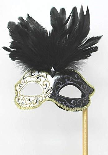 Das Gute Leben Schwarz Elfenbein und Gold Venezianische Maskerade Partei Karneval Maske mit Federn auf Einem ()