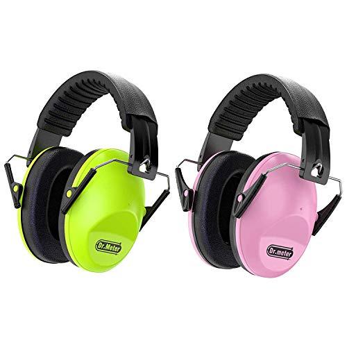 Gehörschutz Kind, Dr.meter Kids Ohrenschützer mit Lärmschutz für Kinder Ohrenschützer zum Schlafen, Lernen, Schießen, Kinder Babys 27NRR Verstellbares Kopfband (Grün und pink)