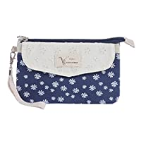 Damara Womens Allover Patterned Detachabled Wristlet Zipper Purse,Dark Blue