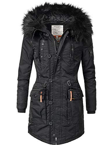 khujo Damen Mantel Wintermantel Winterparka YM-Halle (vegan hergestellt) Black018 Gr. XS