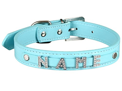 Scarlet pet | Hundehalsband »My-Name« inkl. 5 Strass-Buchstaben; mit Namen ihres Hundes personalisierbar; zusätzliche Buchstaben bestellbar (S: 32 cm, Türkis) -