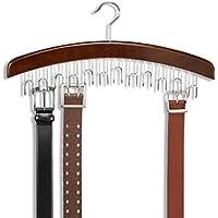 Ducomi® Gruccia Portacinture in Legno con 12 Ganci (Legno Scuro)