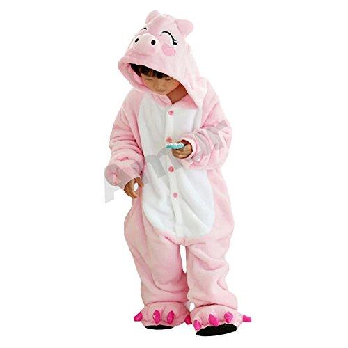 ungen/Mädchen Cosplay Kostüm Jumpsuit Overall Schlafanzug Pyjama, Rosa Schwein, Gr. 128/134( Herstellergröße: 130) (Kind-schwein Kostüm Halloween)