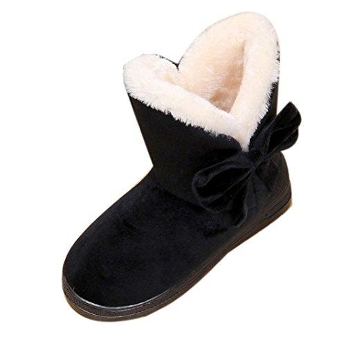 Damenschuhe,DOLDOA Damen Winter Warme Bowknot Schuhe Kurzschaft Schneestiefel Flache Stiefel,Schwarz (Leder-schuhe 2 Schwarze)