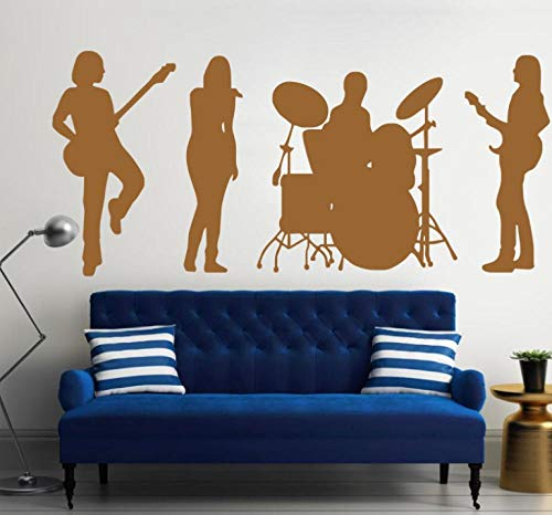 WandaufkleberMuscis band mit schlagzeug silhouette kunst design wandbild jazz rock pop music serie vinyl wandbild home fashion decor aufkleber 42x97 cm (Jazz-band-wand-kunst)