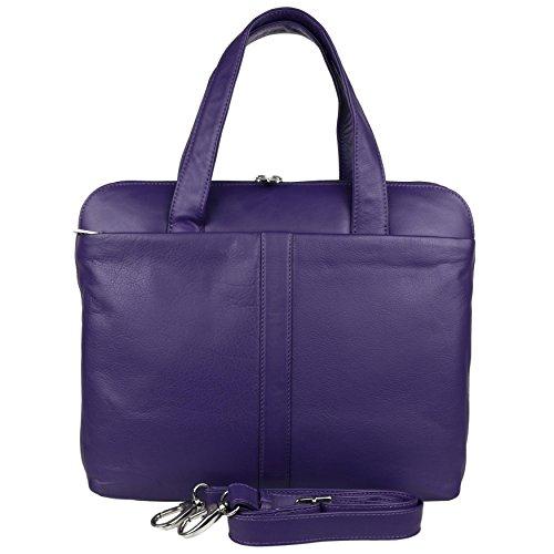Mala Leather , Damen Henkeltasche Schwarz violett violett