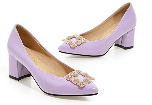 Aisun Femme Sexy Strass Pointues à Enfiler Escarpins Violet