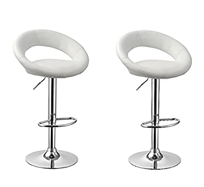 2 Bar Stool Breakfast Swivel Bar Stools Barstools Kitchen - white 1009