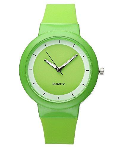 Einfach Damen Armbanduhr Silikonband Casual Sportuhr Analog Quarzuhr Silikonuhr,Grün (Stellen Simples Halloween)