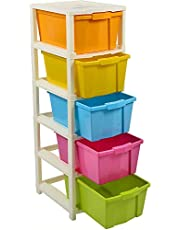 Joyful Studio 5 XL Plastic Modular Drawer System for Home, Office, Hospital, Parlor, School, Doctors, Home and Kids, Colour Multi, Product Dimension When assembeled (31cmx39cmx98 cm)