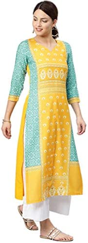 Vaamsi Women's Poly Crepe straight Kurta (VPK1583Par_ Yellow_ La