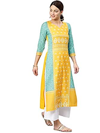 Vaamsi Women's Crepe a-line Kurta (VPK1583_S_Multicoloured_Small)