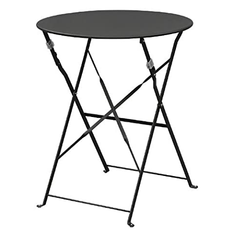Bolero GH558 Pavement Style Steel Table, 710 mm x 595 mm, Garden Restaurant Commercial, Black