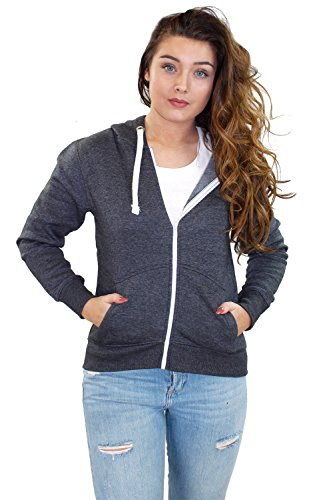 Nouvelle plaine de filles Ladies Zip Up Hoodie Sweatshirt femmes Fleece Jacket Hooded Top Gris - Charbon