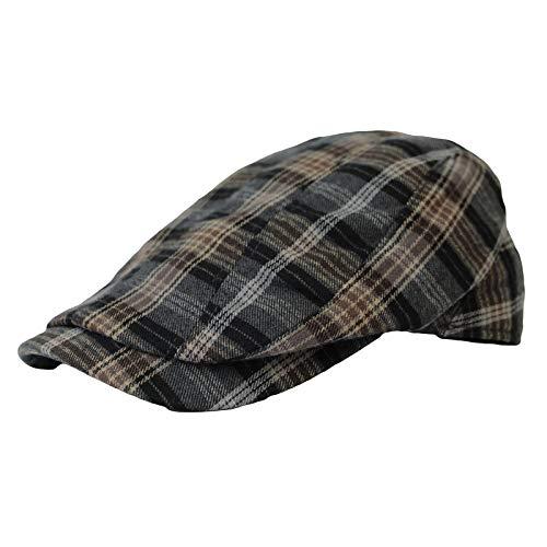 WIM Schlägermütze Golfermütze Schiebermütze Winter Cotton Gatsby Ivy Cap Newsboy Hat Tartan Check LD31225 (Grey) -