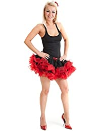 Crazy Chick 2 Layers Black Red Short Ruffle Vampire TuTu Skirt