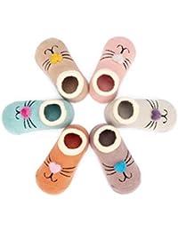 Adorel Pack de 6 pares de Calcetines Tobilleros Antideslizantes para Bebés Niñas 0 a 6 Años