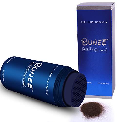 BUNEE Streuhaar & Schütthaar zur Haarverdichtung & vollem Haar in Sekunden. Hair fibers & Ansatzkaschierung. Schütthaar für einen authentischen Look. 100% Natur - 27.5g (Mittelbraun)